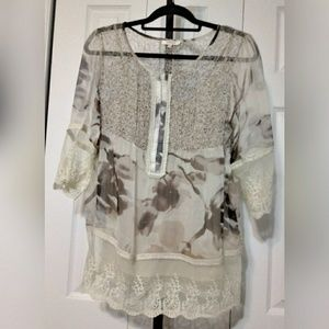 Sundance 100% Silk Bohemian Peasant Top Sz M pet